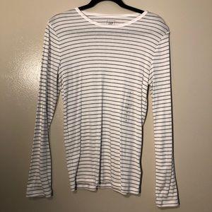 White and Grey Gap Long Sleeve T-Shirt